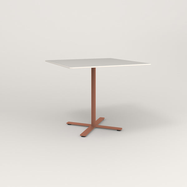 RAD Cafe Table, Rectangular X Base in acrylic and coral powder coat.