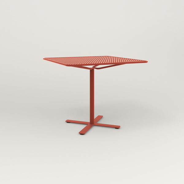 RAD Cafe Table, Rectangular X Base in perforated steel and red powder coat.