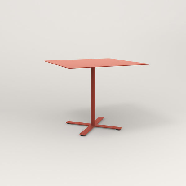 RAD Cafe Table, Rectangular X Base in aluminum and red powder coat.