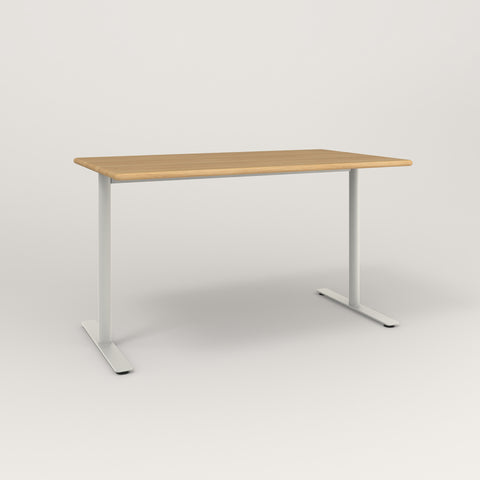 RAD Cafe Table, Rectangular X Base T Leg in solid white oak and white powder coat.