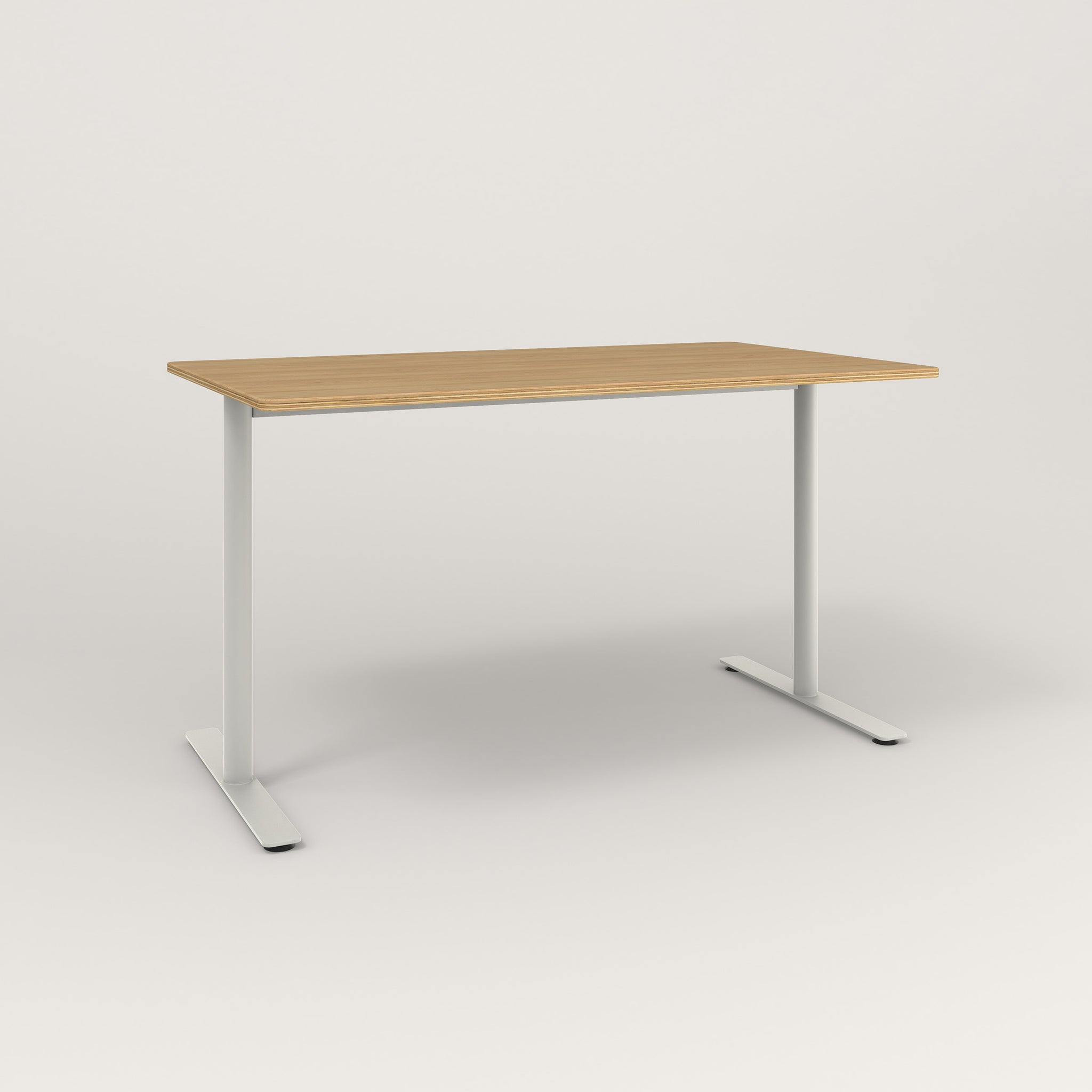 RAD Cafe Table, Rectangular X Base T Leg in white oak europly and white powder coat.