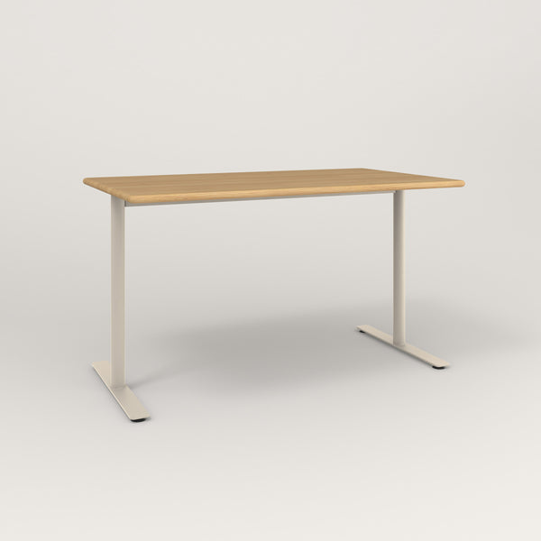 RAD Cafe Table, Rectangular X Base T Leg in solid white oak and off-white powder coat.