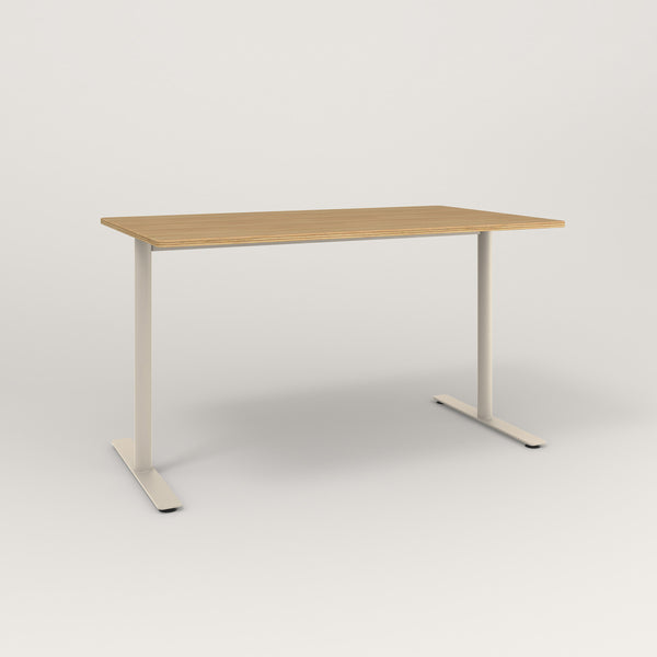 RAD Cafe Table, Rectangular X Base T Leg in white oak europly and off-white powder coat.