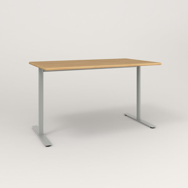 RAD Cafe Table, Rectangular X Base T Leg in solid white oak and grey powder coat.