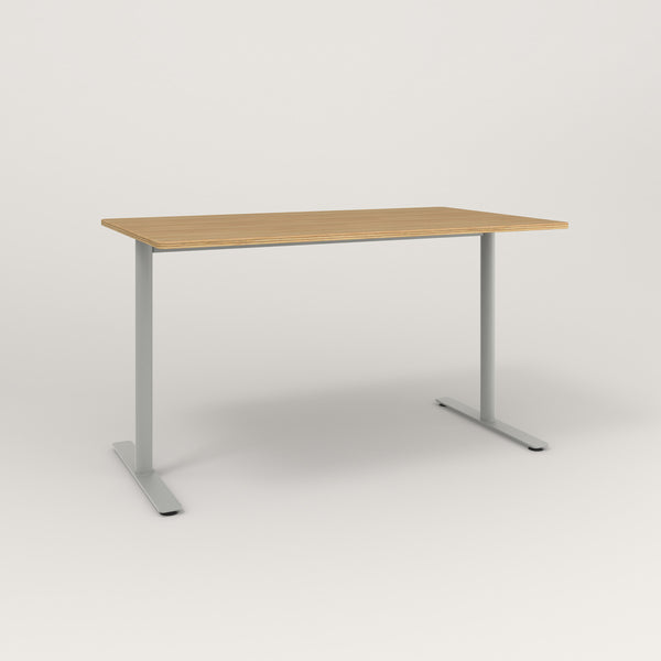 RAD Cafe Table, Rectangular X Base T Leg in white oak europly and grey powder coat.