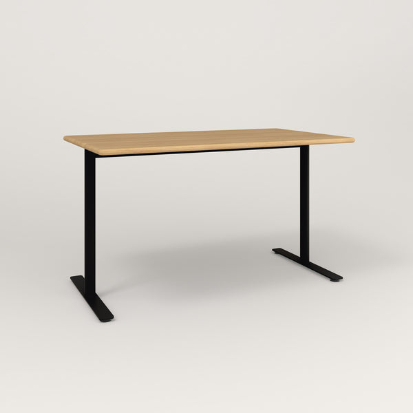 RAD Cafe Table, Rectangular X Base T Leg in solid white oak and black powder coat.