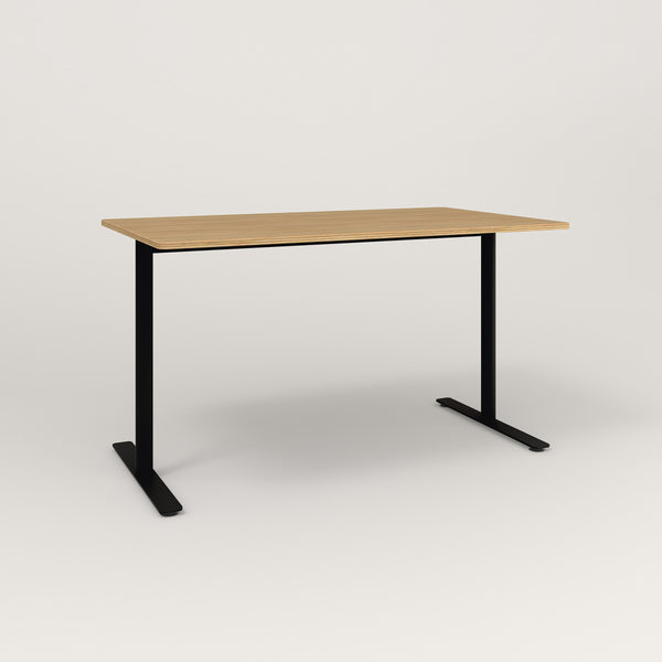 RAD Cafe Table, Rectangular X Base T Leg in white oak europly and black powder coat.