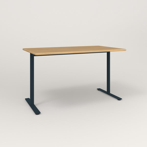 RAD Cafe Table, Rectangular X Base T Leg in solid white oak and navy powder coat.