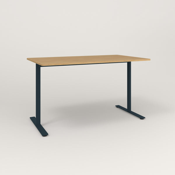 RAD Cafe Table, Rectangular X Base T Leg in white oak europly and navy powder coat.
