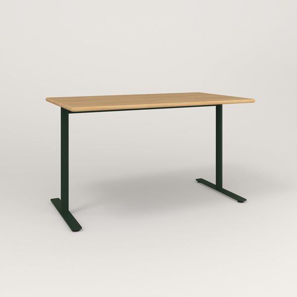 RAD Cafe Table, Rectangular X Base T Leg in solid white oak and fir green powder coat.