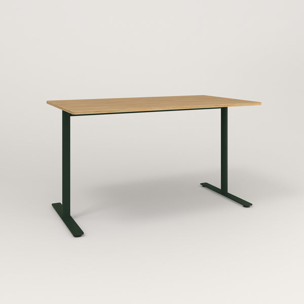 RAD Cafe Table, Rectangular X Base T Leg in white oak europly and fir green powder coat.