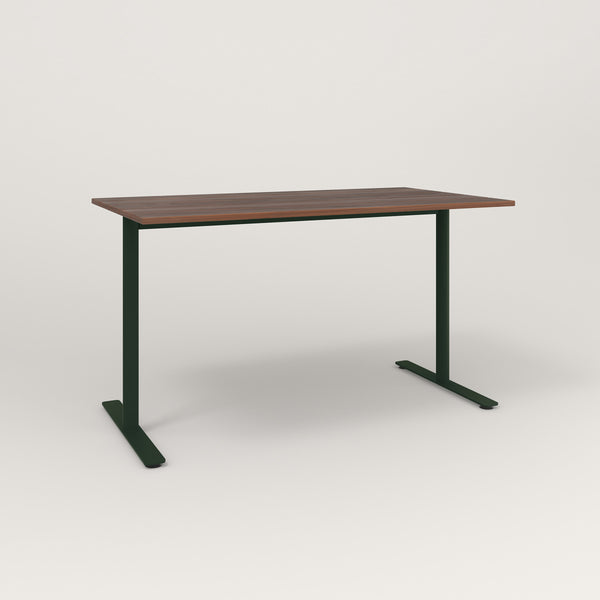 RAD Cafe Table, Rectangular X Base T Leg in slatted wood and fir green powder coat.
