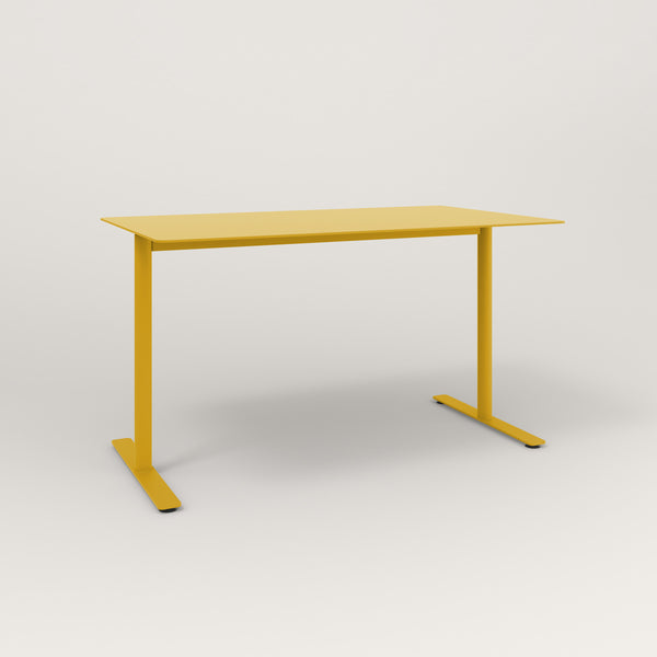 RAD Cafe Table, Rectangular X Base T Leg in aluminum and yellow powder coat.