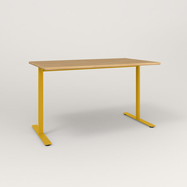 RAD Cafe Table, Rectangular X Base T Leg in solid white oak and yellow powder coat.