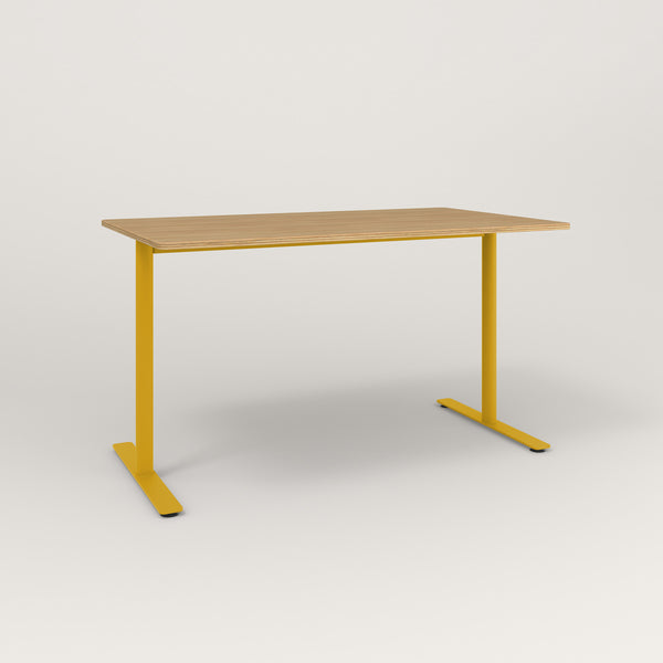 RAD Cafe Table, Rectangular X Base T Leg in white oak europly and yellow powder coat.