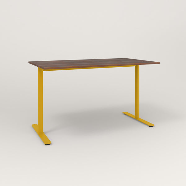 RAD Cafe Table, Rectangular X Base T Leg in slatted wood and yellow powder coat.