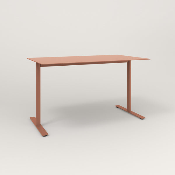 RAD Cafe Table, Rectangular X Base T Leg in aluminum and coral powder coat.