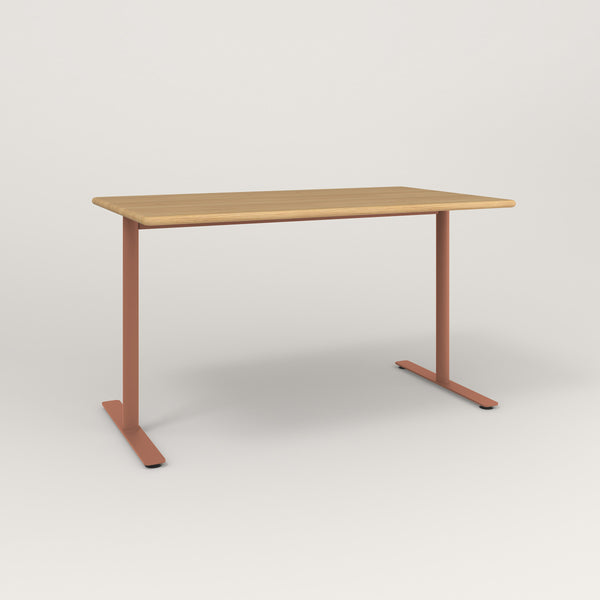 RAD Cafe Table, Rectangular X Base T Leg in solid white oak and coral powder coat.