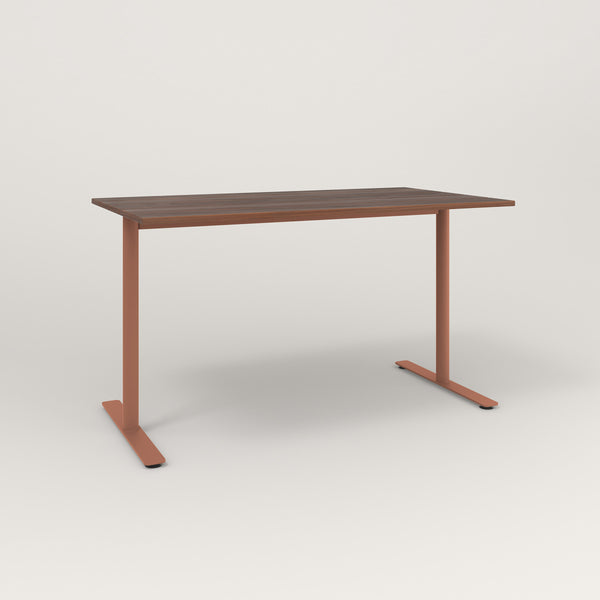 RAD Cafe Table, Rectangular X Base T Leg in slatted wood and coral powder coat.