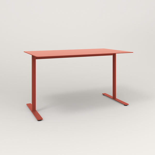 RAD Cafe Table, Rectangular X Base T Leg in aluminum and red powder coat.