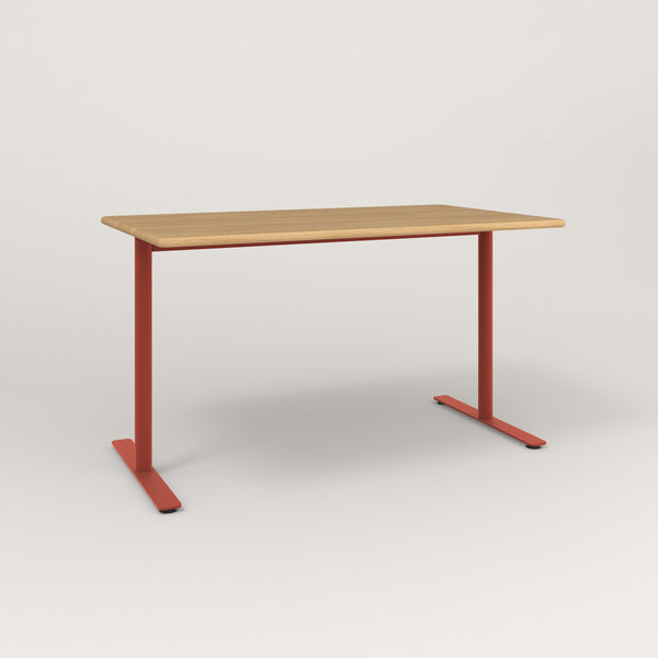 RAD Cafe Table, Rectangular X Base T Leg in solid white oak and red powder coat.