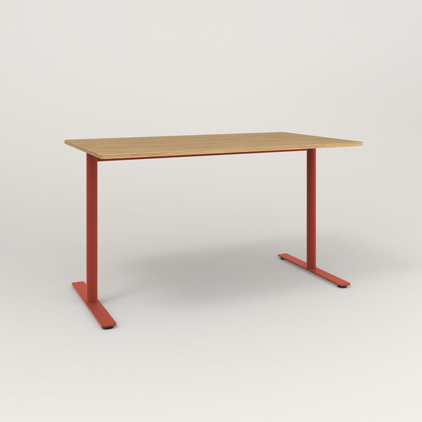 RAD Cafe Table, Rectangular X Base T Leg in white oak europly and red powder coat.