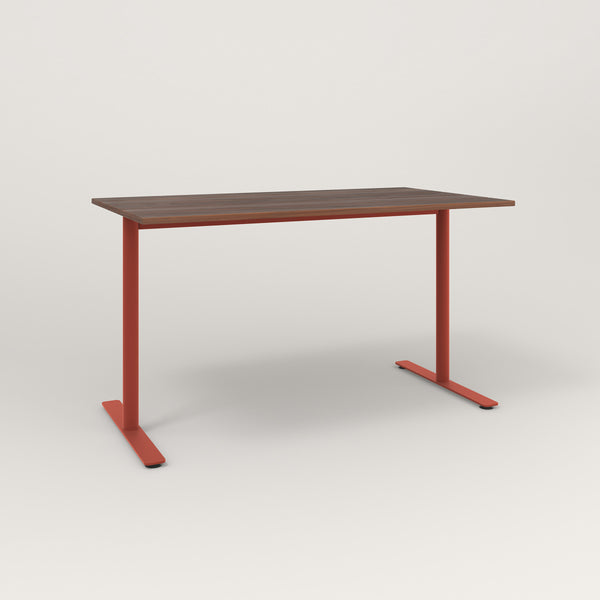 RAD Cafe Table, Rectangular X Base T Leg in slatted wood and red powder coat.