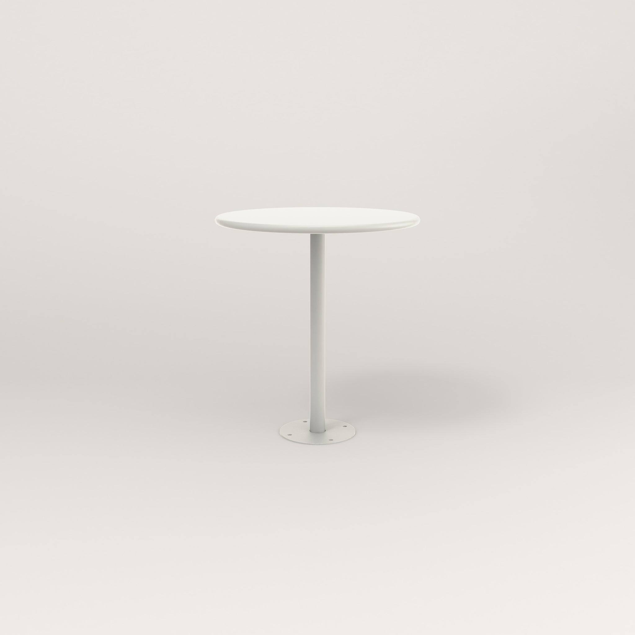 RAD Cafe Table, Round Bolt Down Base in spun aluminum and white powder coat.