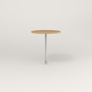 RAD Cafe Table, Round Bolt Down Base in solid white oak and white powder coat.