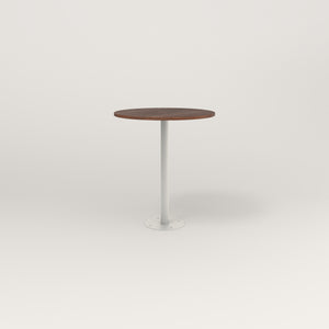 RAD Cafe Table, Round Bolt Down Base in slatted wood and white powder coat.