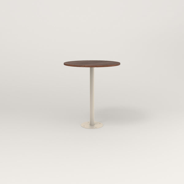 RAD Cafe Table, Round Bolt Down Base in slatted wood and off-white powder coat.