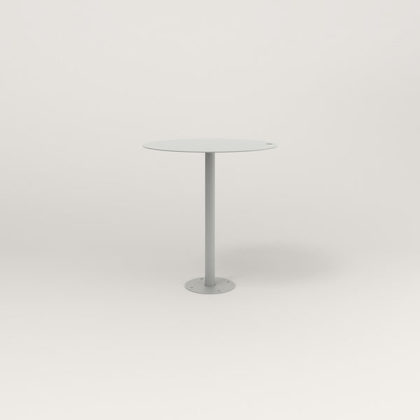 RAD Cafe Table, Round Bolt Down Base in aluminum and grey powder coat.