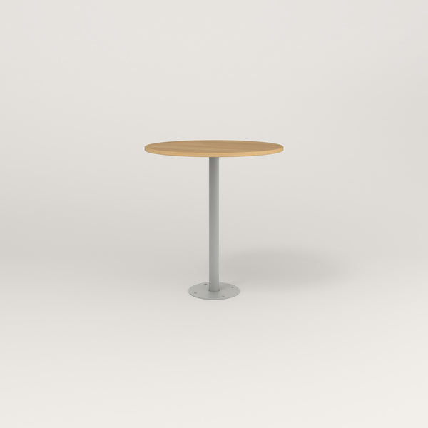 RAD Cafe Table, Round Bolt Down Base in white oak europly and grey powder coat.