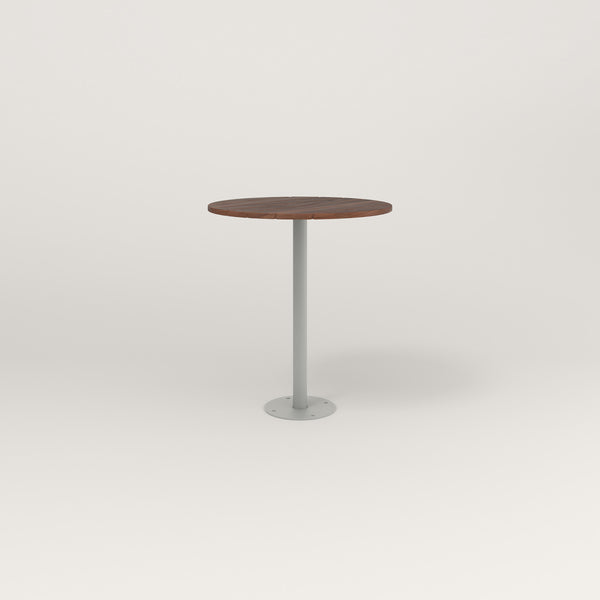 RAD Cafe Table, Round Bolt Down Base in slatted wood and grey powder coat.
