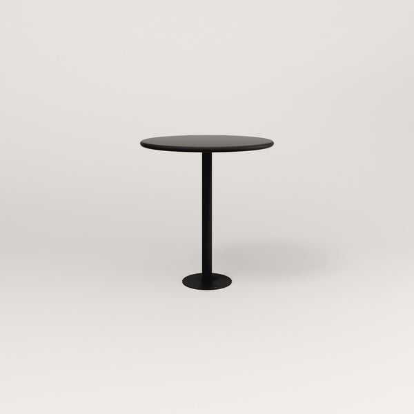 RAD Cafe Table, Round Bolt Down Base in spun aluminum and black powder coat.