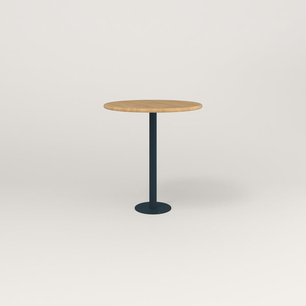RAD Cafe Table, Round Bolt Down Base in solid white oak and navy powder coat.