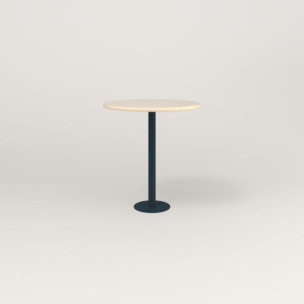 RAD Cafe Table, Round Bolt Down Base in solid ash and navy powder coat.