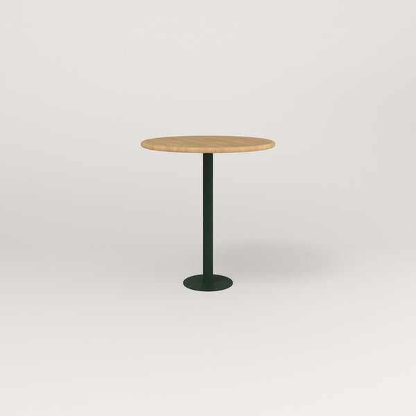 RAD Cafe Table, Round Bolt Down Base in solid white oak and fir green powder coat.