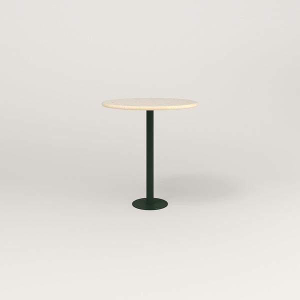 RAD Cafe Table, Round Bolt Down Base in solid ash and fir green powder coat.