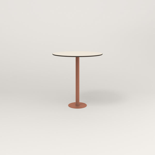 RAD Cafe Table, Round Bolt Down Base in hpl and coral powder coat.