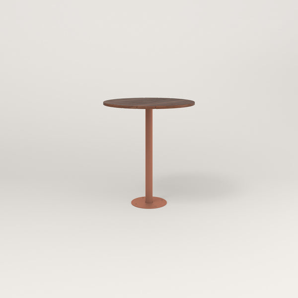 RAD Cafe Table, Round Bolt Down Base in slatted wood and coral powder coat.