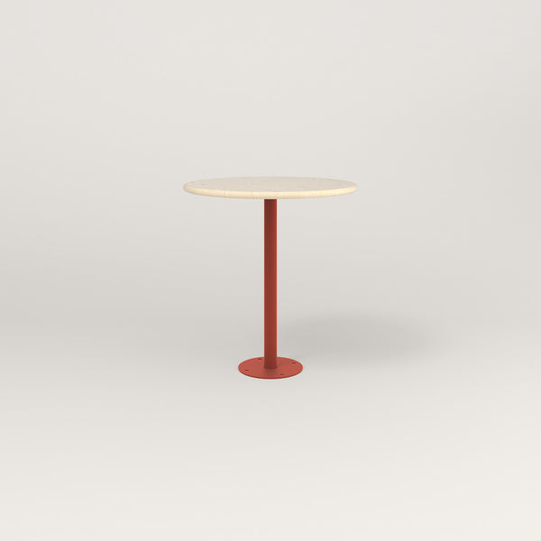 RAD Cafe Table, Round Bolt Down Base in solid ash and red powder coat.