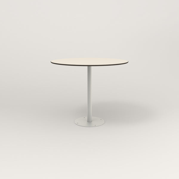 RAD Cafe Table, Round Bolt Down Base in hpl and white powder coat.