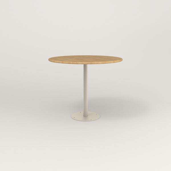 RAD Cafe Table, Round Bolt Down Base in solid white oak and off-white powder coat.