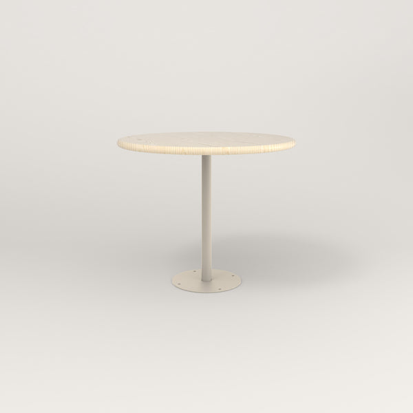 RAD Cafe Table, Round Bolt Down Base in solid ash and off-white powder coat.
