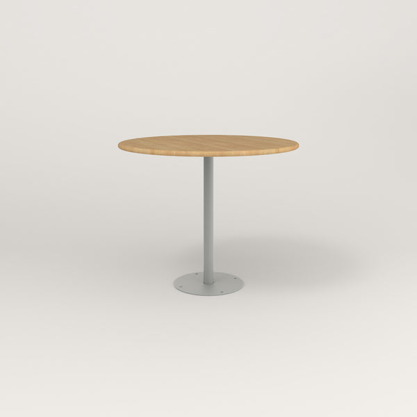 RAD Cafe Table, Round Bolt Down Base in solid white oak and grey powder coat.