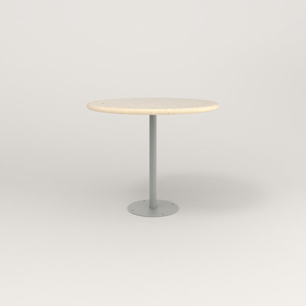 RAD Cafe Table, Round Bolt Down Base in solid ash and grey powder coat.