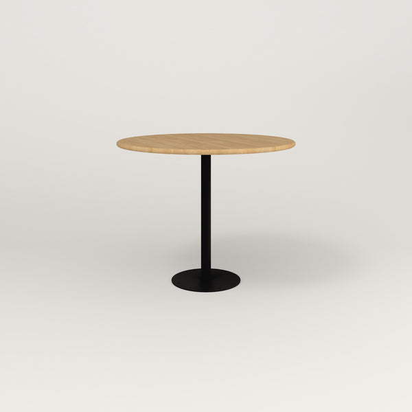 RAD Cafe Table, Round Bolt Down Base in solid white oak and black powder coat.