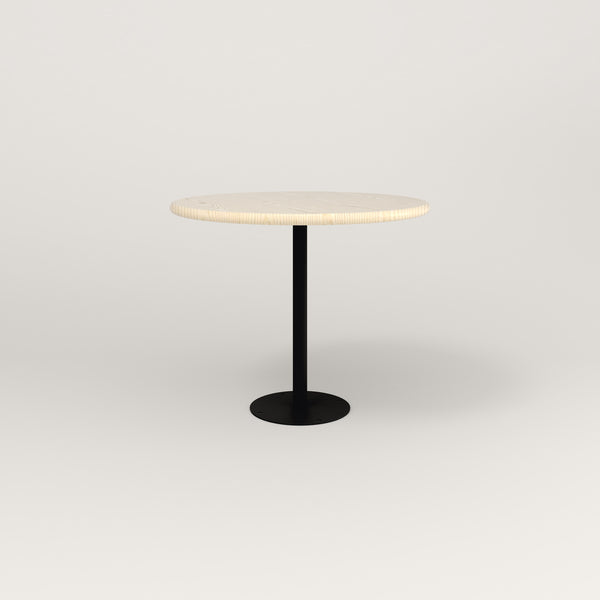 RAD Cafe Table, Round Bolt Down Base in solid ash and black powder coat.