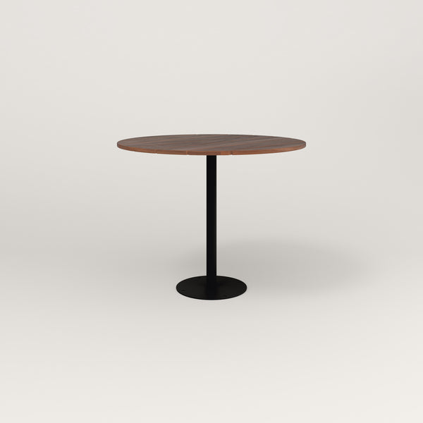 RAD Cafe Table, Round Bolt Down Base in slatted wood and black powder coat.